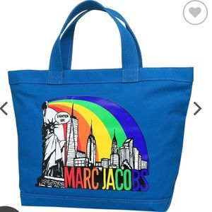"Marc Jacobs ""New York"" print Cotton Zip Tote"
